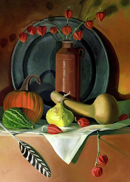 Still Life Greeting Card featuring the painting Autumn Still Life by Nancy Griswold