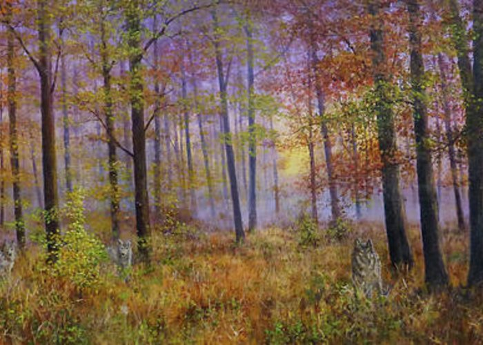 Wolf In A Fall Scene Greeting Card featuring the painting Autumn Wolves by Bill Makinson
