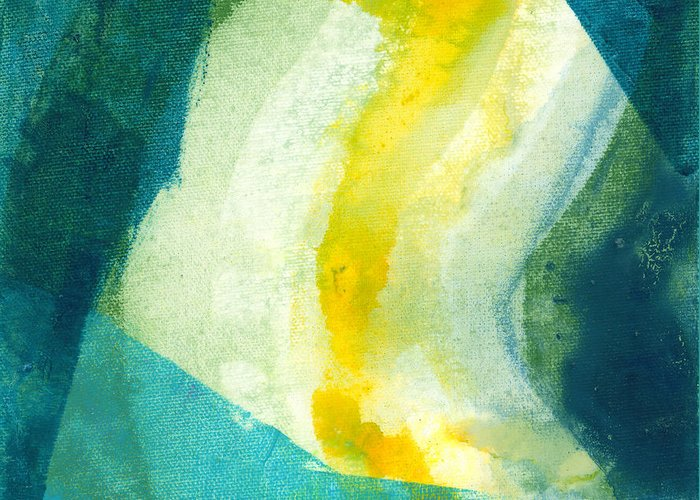 Abstract Greeting Card featuring the painting Back by Claire Desjardins