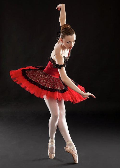 Ballet Dancer Greeting Card featuring the photograph Ballerina On Point by Rollover