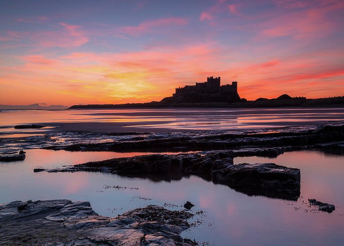 Bamburgh Greeting Card featuring the photograph Bamburgh Castle Bam0032 by David Pringle