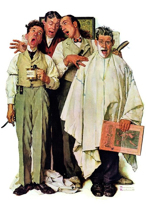 Barbers Greeting Card featuring the drawing Barbershop Quartet by Norman Rockwell