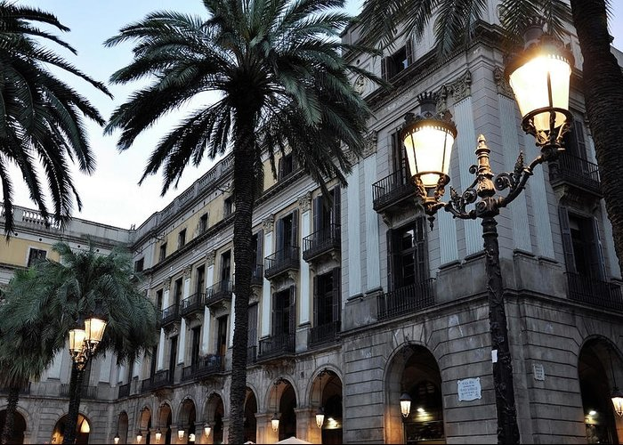 Outdoors Greeting Card featuring the photograph Barcelona, Placa Reial by Stefano Salvetti