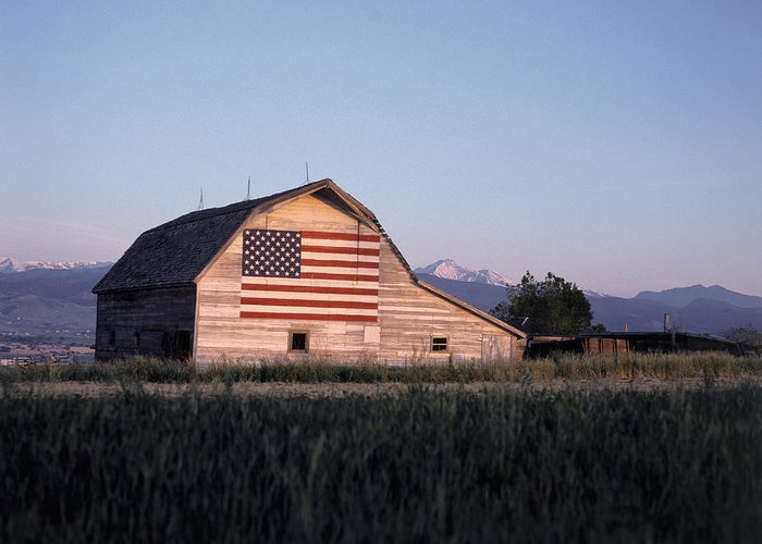 Built Structure Greeting Card featuring the photograph Barn W Us Flag, Co by Chris Rogers