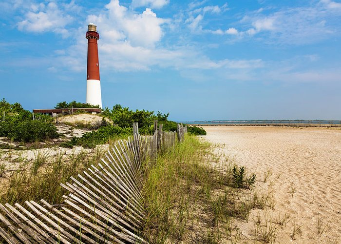 Water's Edge Greeting Card featuring the photograph Barnegat Lighthouse, Sand, Beach, Dune by Dszc