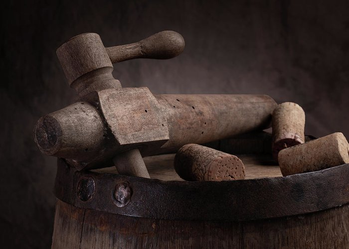 Aged Greeting Card featuring the photograph Barrel Tap With Corks by Tom Mc Nemar