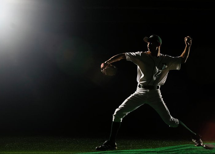 Human Arm Greeting Card featuring the photograph Baseball Pitcher Releasing Ball by Pm Images