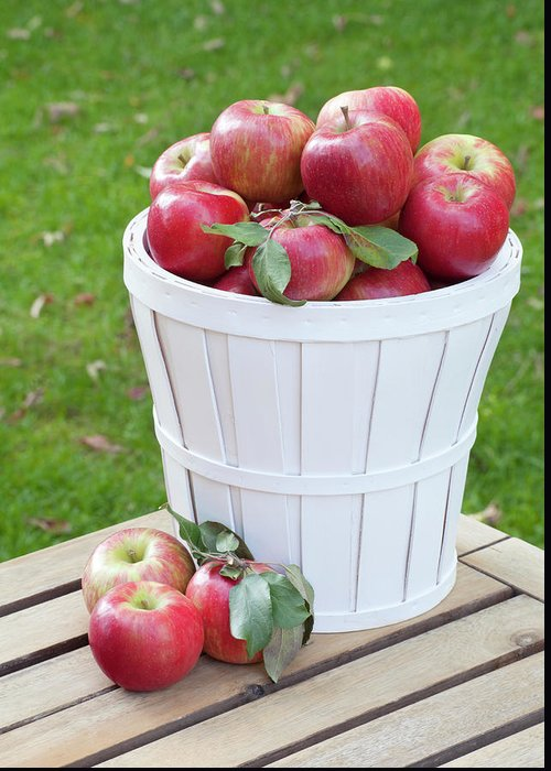 Outdoors Greeting Card featuring the photograph Basket Of Honey Crisp Apples by Wholden