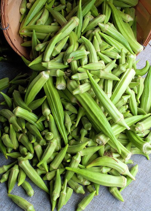 Retail Greeting Card featuring the photograph Basket Of Okra At A Farmers Market by Bill Boch