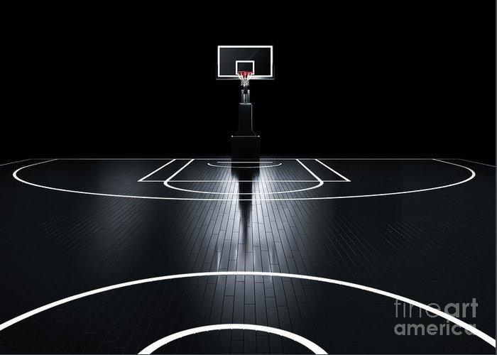 Venue Greeting Card featuring the digital art Basketball Court. Photorealistic 3d by Serg Klyosov