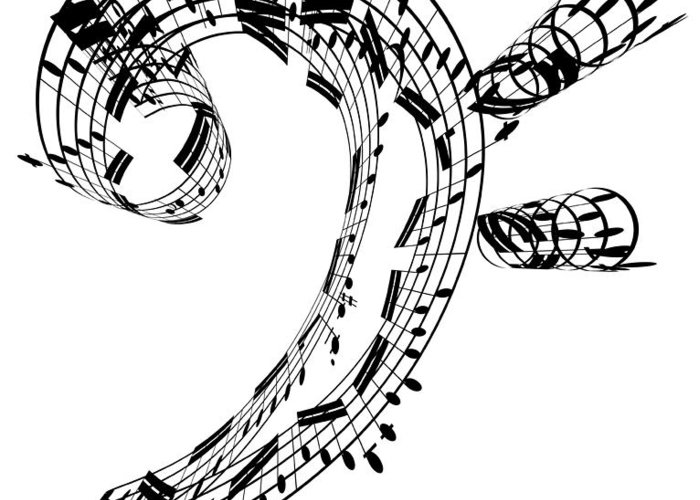 Sheet Music Greeting Card featuring the digital art Bass Clef Made Of Music Notes by Ian Mckinnell