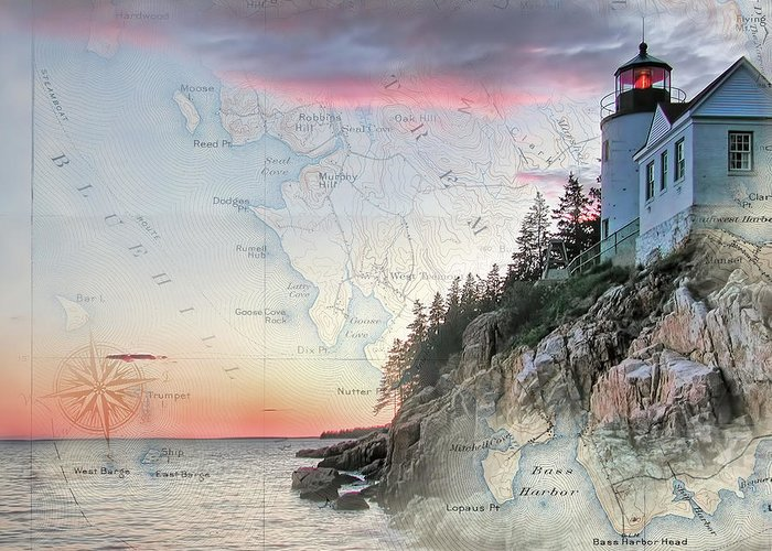 Lighthouses Of New England Greeting Card featuring the photograph Bass Harbor Lighthouse On A Chart by Jeff Folger