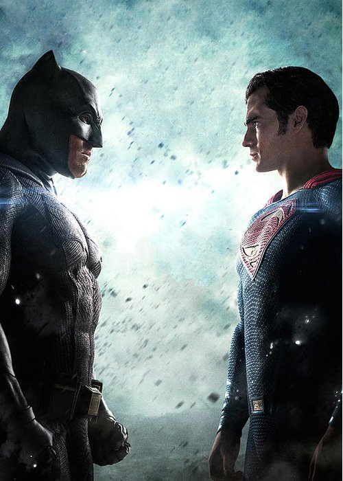 Batman V Superman Dawn Of Justice Textless Poster Greeting Card featuring the digital art Batman V Superman Dawn Of Justice Textless Poster by Geek N Rock