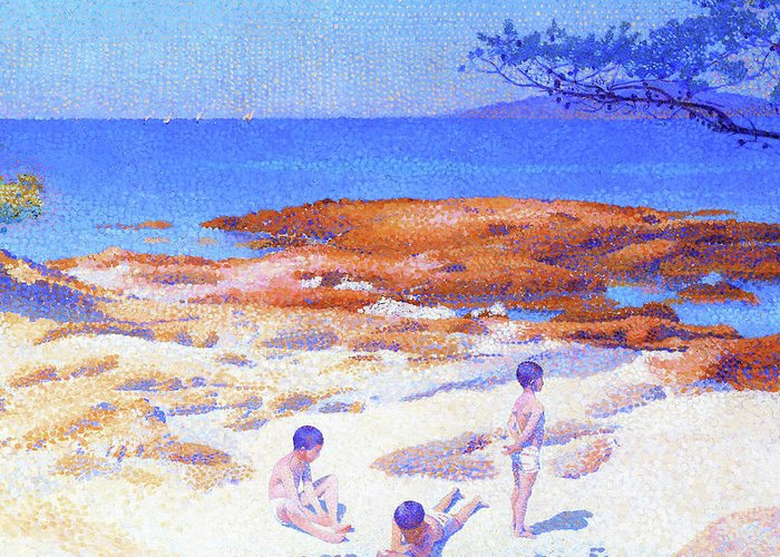 Beach At Cabasson Greeting Card featuring the painting Beach At Cabasson - Digital Remastered Edition by Henri Edmond Cross