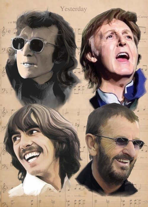 Beatles Greeting Card featuring the painting Beatles Yesterday by Paul Tag