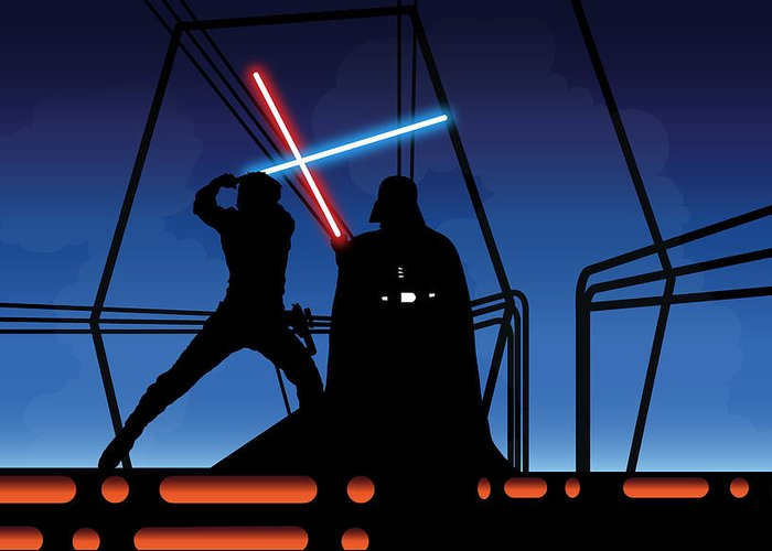 Darth Vader Greeting Card featuring the digital art Bespin Duel by Nathan Shegrud