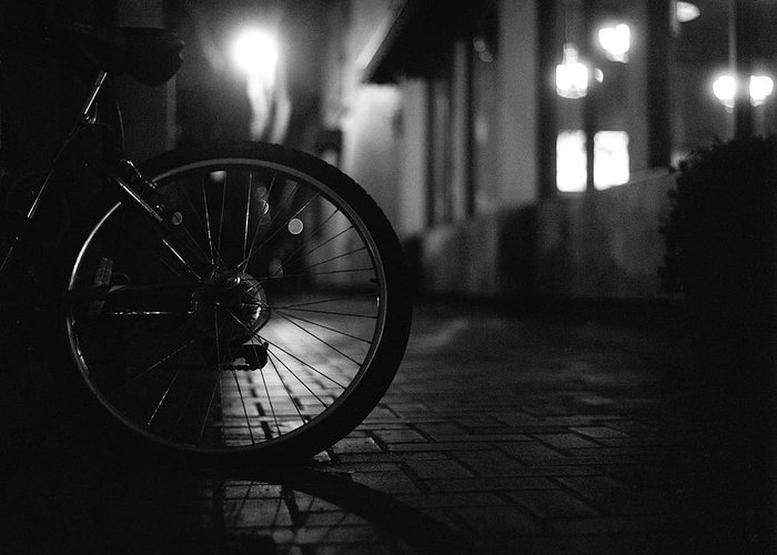 Shadow Greeting Card featuring the photograph Bicycle In Dark Street by Satoshi Otani