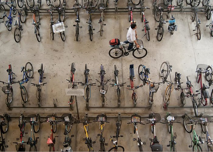 People Greeting Card featuring the photograph Bicycle Park At Boon Lay Mrt Station by Kokkai Ng