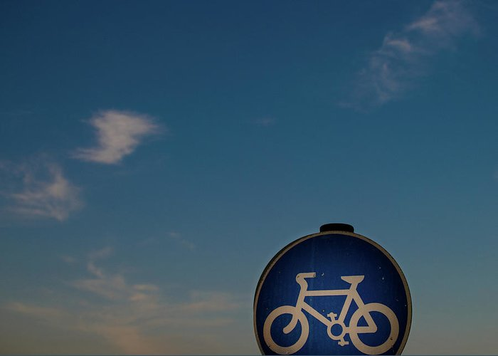 Outdoors Greeting Card featuring the photograph Bicycle Sign With Sky by Photography By Stuart Mackenzie (disco~stu)