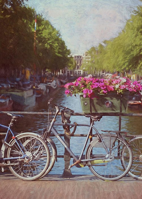 Netherlands Greeting Card featuring the photograph Bicycles On The Bridge - Digital Painting by Maria Angelica Maira