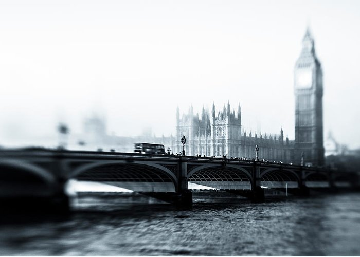 Clock Tower Greeting Card featuring the photograph Big Ben And Houses Of Parliament In The by Cirano83