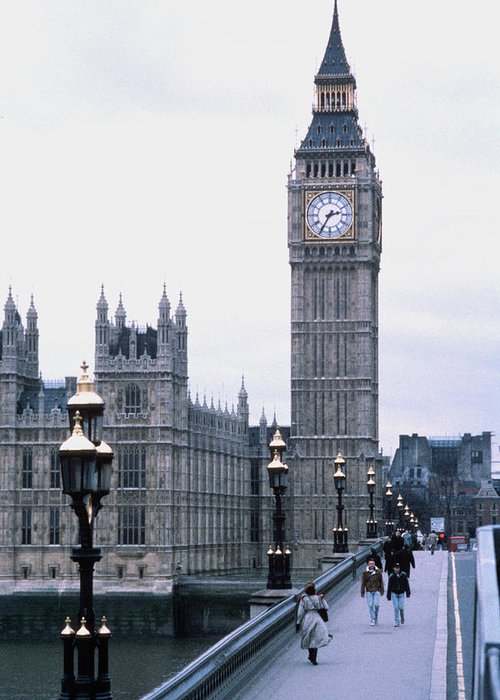 Clock Tower Greeting Card featuring the photograph Big Ben In London by Dick Luria