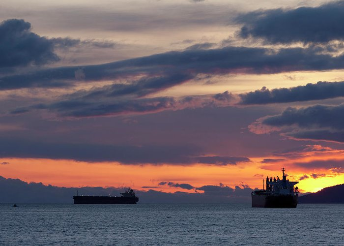 Scenics Greeting Card featuring the photograph Big Boat Silhouettes by Visualcommunications