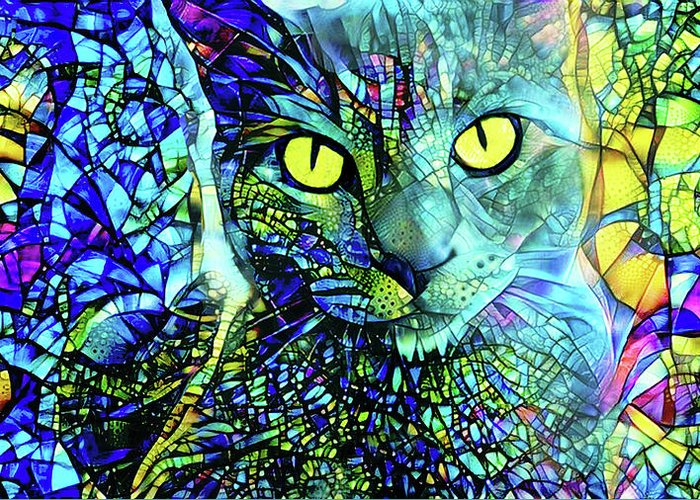 Gray Cat Greeting Card featuring the digital art Binx The Stained Glass Cat by Peggy Collins