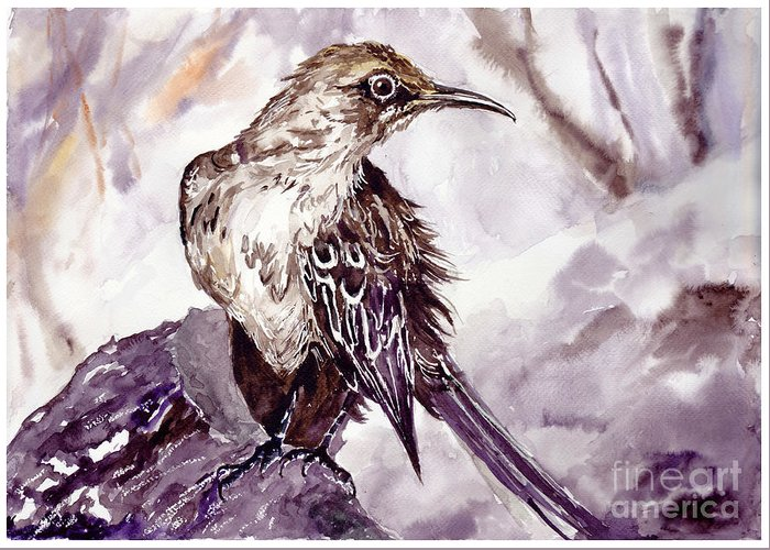 Pigeons Greeting Card featuring the painting Bird On The Rock by Suzann Sines