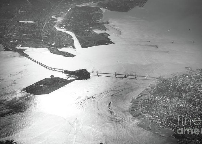 Bridge Greeting Card featuring the photograph Black And White Aerial View Of Downtown San Francisco With Sun R by PorqueNo Studios
