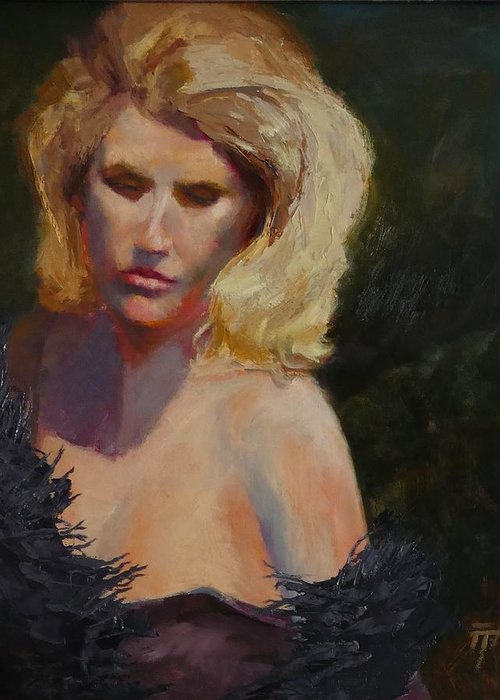 Woman Greeting Card featuring the painting Blond in Black by Irena Jablonski