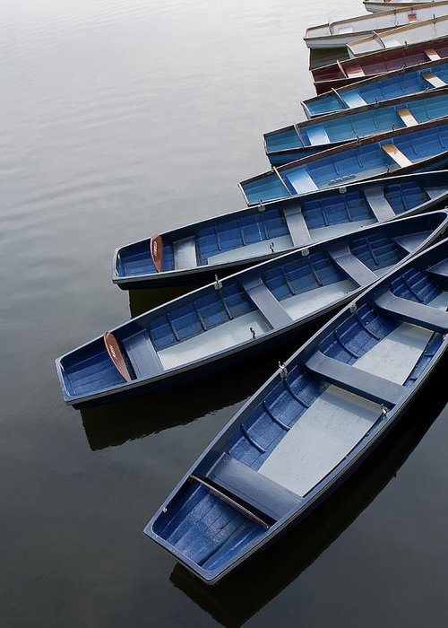 In A Row Greeting Card featuring the photograph Blue Boats On River Avon by Gethin Thomas Photography