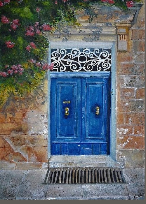 Malta Greeting Card featuring the painting Blue Door Malta by Lisa Cini