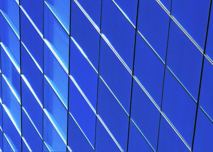 Outdoors Greeting Card featuring the photograph Blue Glass Modern Building by Joelle Icard