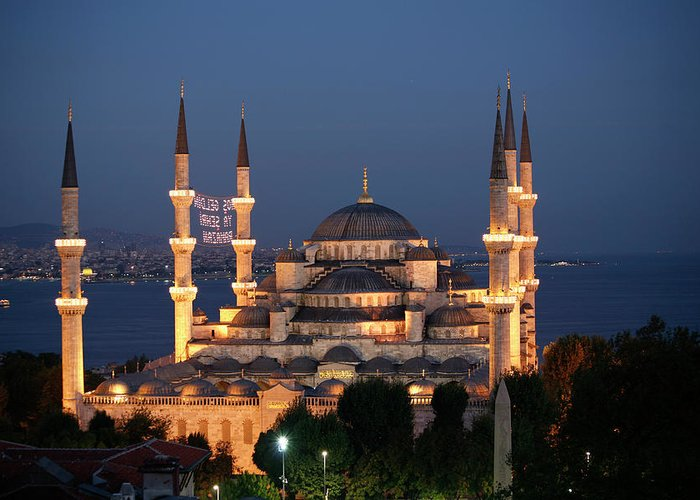 Istanbul Greeting Card featuring the photograph Blue Mosque In Istanbul by Ayse Topbas