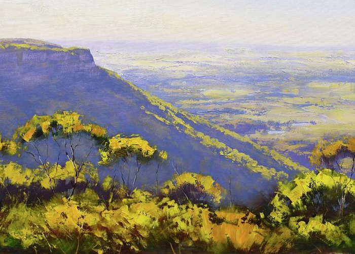 Three Sisters Greeting Card featuring the painting Blue Mountains Australia by Graham Gercken