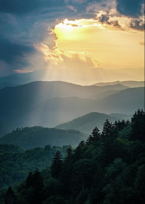 Outdoors Greeting Card featuring the photograph Blue Ridge Parkway Nc From Above by Robert Stephens