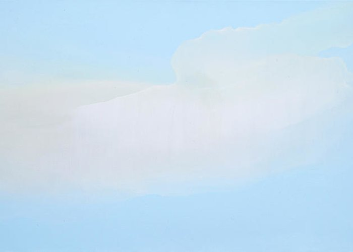 Abstract Greeting Card featuring the painting Blue Skies Ahead by Claire Desjardins