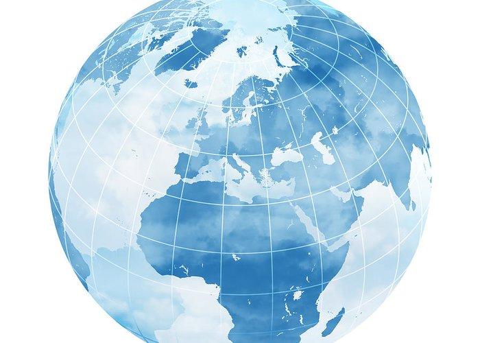 White Background Greeting Card featuring the digital art Blue World Globe by Sbayram