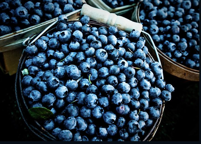 Heap Greeting Card featuring the photograph Blueberries At Farmers Market by Richard Deming Photography