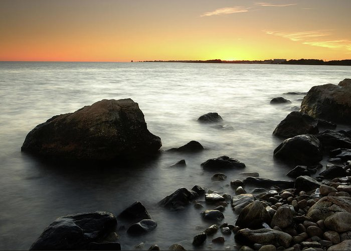 Water's Edge Greeting Card featuring the photograph Bluff Point Sunset by Ericfoltz