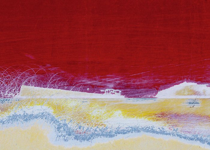 Red Greeting Card featuring the photograph Boat Paint Job Abstract by Carol Leigh