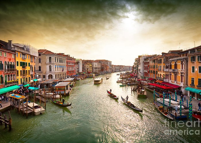 Venice Island Greeting Card featuring the photograph Boats And Gondolas On The Grand Canal by Photoff