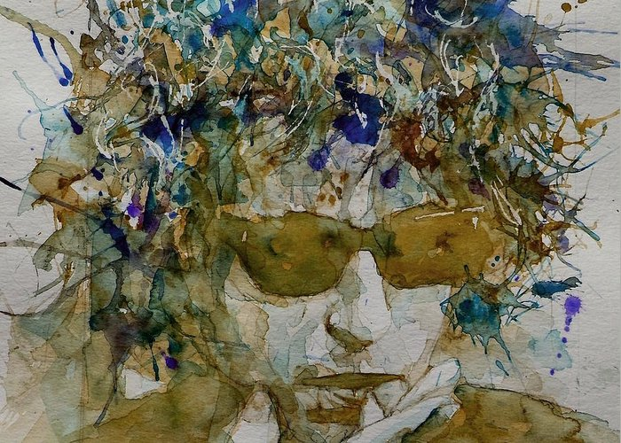 Bob Dylan Greeting Card featuring the painting Bob Dylan - Knocking On Heavens Door by Paul Lovering