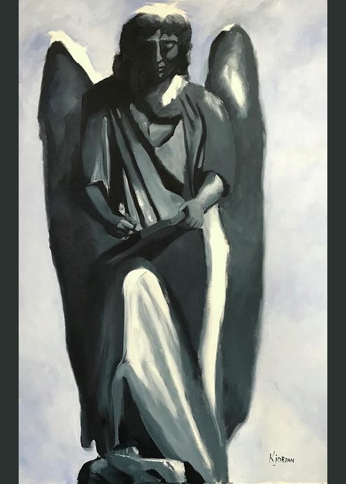 Angel Greeting Card featuring the painting Book Of Life by Karen Jordan