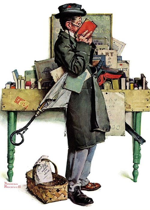 Books Greeting Card featuring the drawing Bookworm by Norman Rockwell