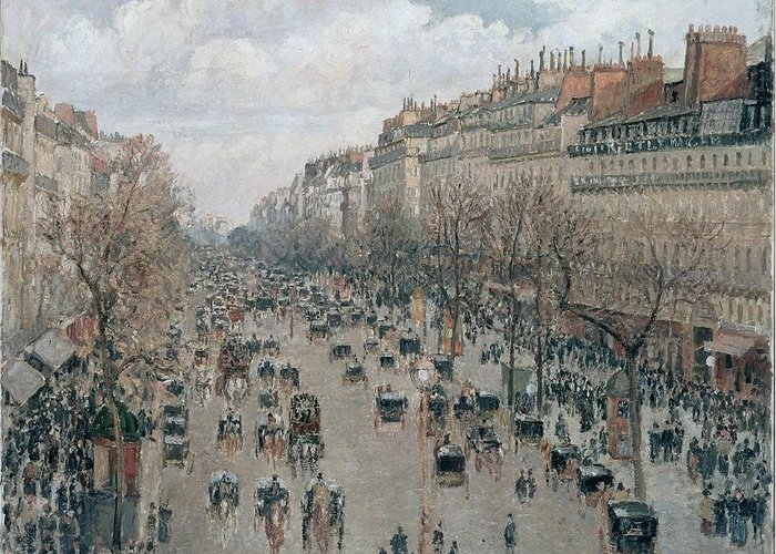 Camille Pissarro Greeting Card featuring the painting Boulevard Montmartre - Afternoon, Sunlight, 1897 by Camille Pissarro