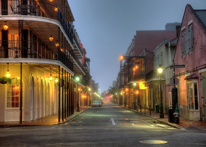 Built Structure Greeting Card featuring the photograph Bourbon Street by Denistangneyjr