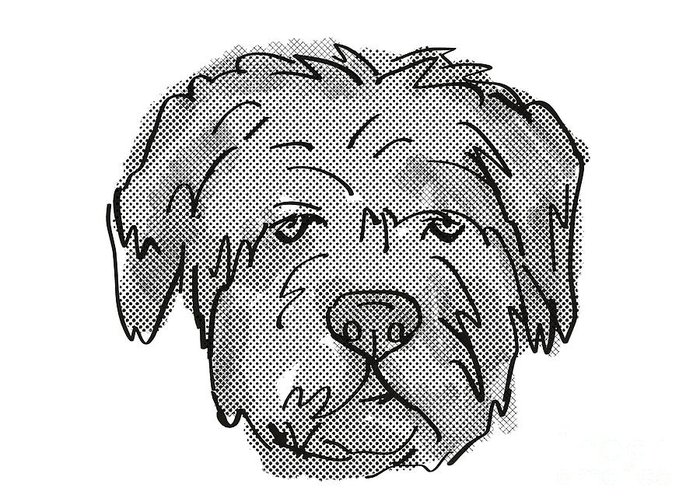 Retro Greeting Card featuring the digital art Bouvier Des Flandres Dog Breed Cartoon Retro Drawing by Aloysius Patrimonio