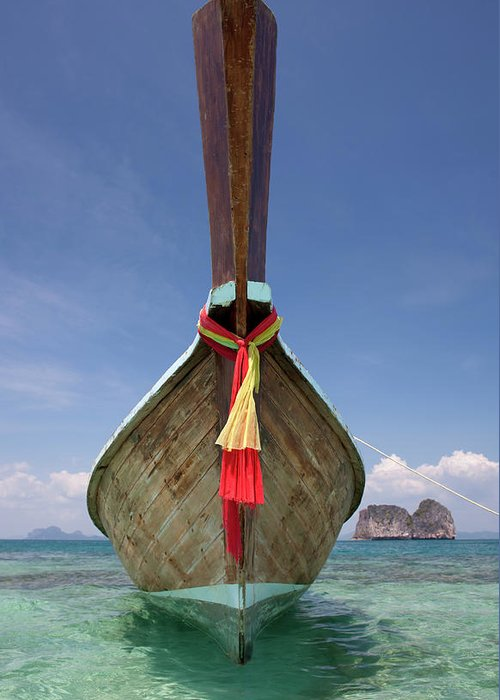 Andaman Sea Greeting Card featuring the photograph Bow Of A Long-tailed Boat, Thailand by Enviromantic